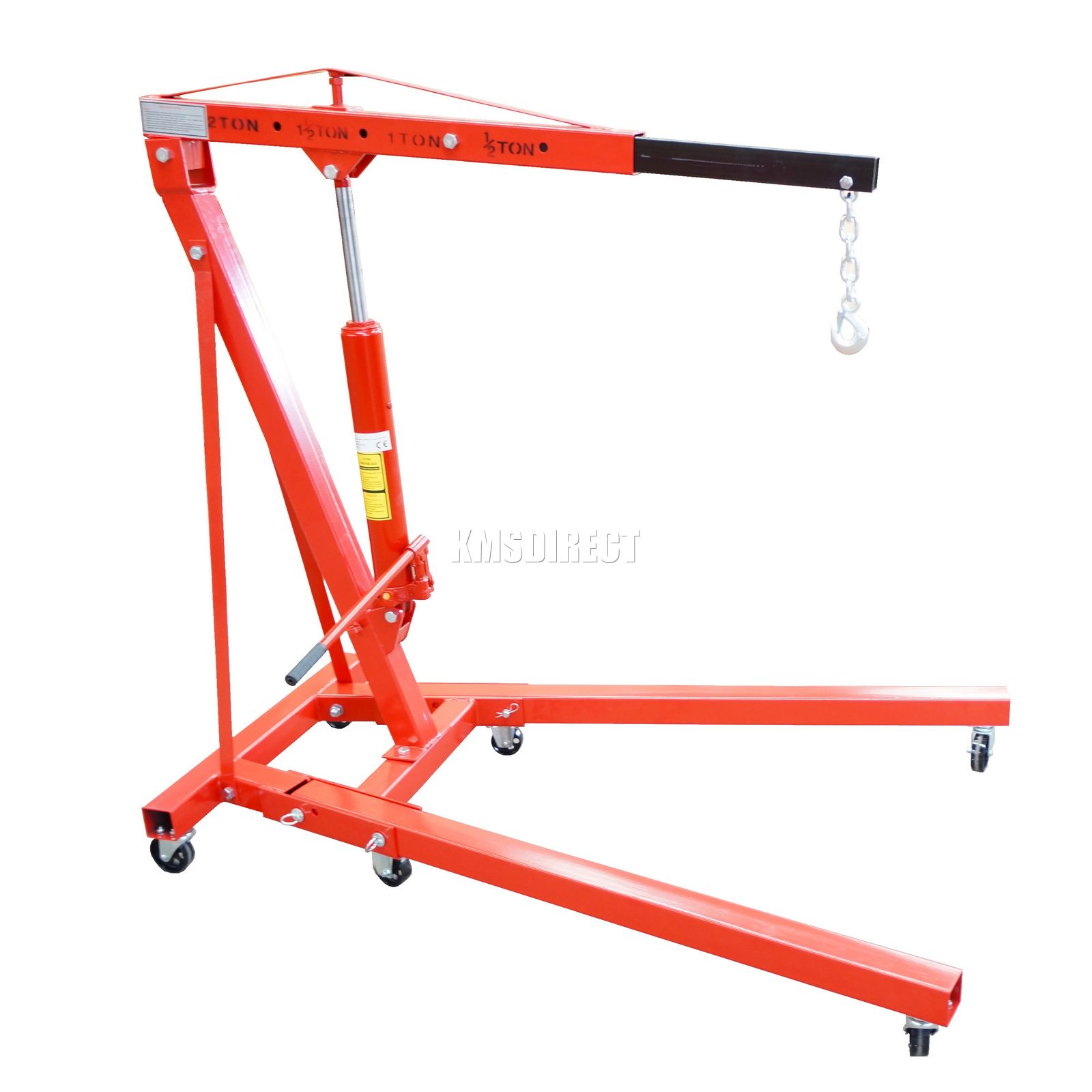 2 Ton Tonne Hydraulic Folding Engine Crane Stand Hoist lift Jack With Wheels New