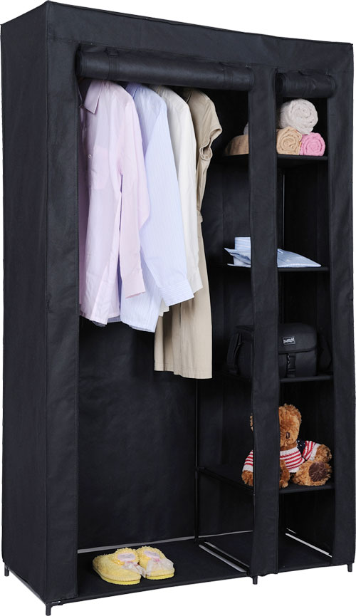 New Double Canvas Wardrobe With Clothes Rail Shelves