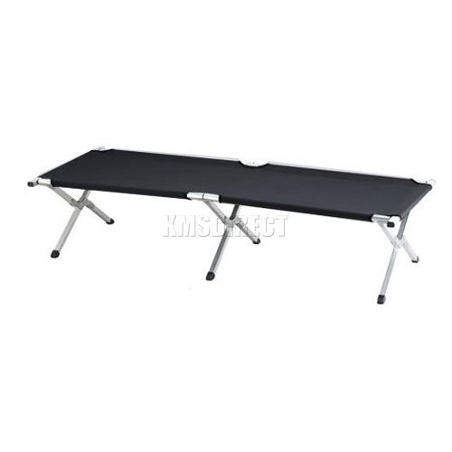 Black heavy duty super light folding camp camping bed aluminium frame steel legs ebay - Camif bed frame ...