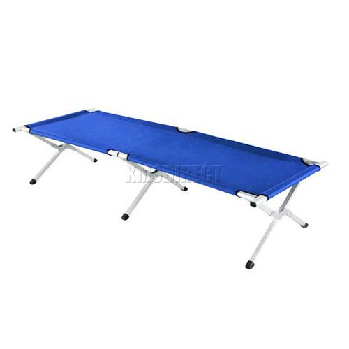 Blue heavy duty super light folding camp camping bed aluminium frame steel legs ebay - Camif bed frame ...