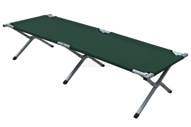 Green heavy duty super light folding camp camping bed aluminium frame steel legs ebay - Camif bed frame ...