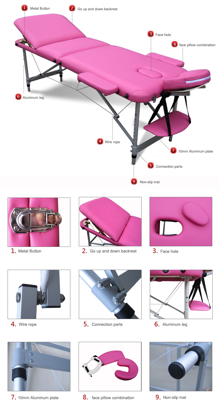 Lightweight portable massage table - Portable Folding Massage Table Tattoo Therapy Beauty Salon Couch Bed Lightweight Enlarge Image