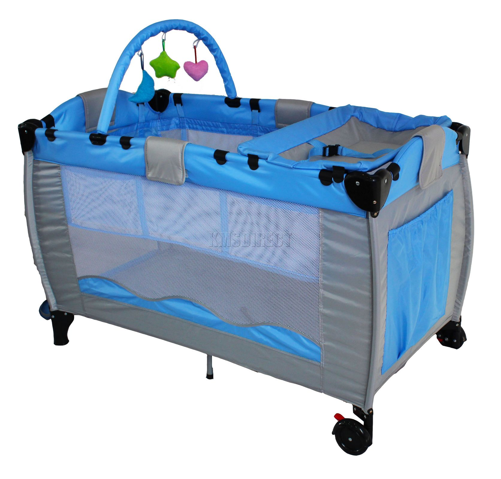 Blue Infant Baby Child Travel Bed Cot Bassinet Play Pen Playpen