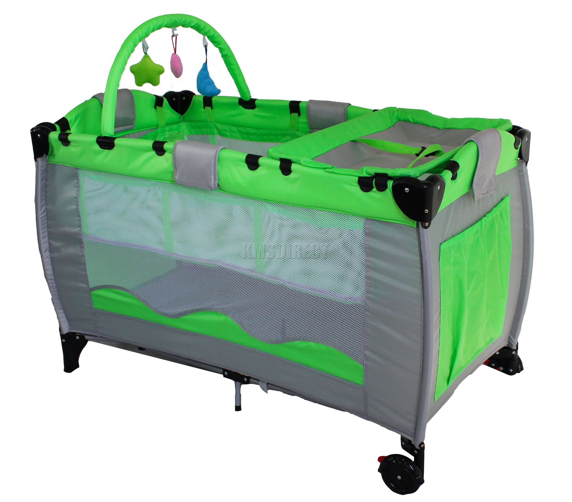 Green Infant Baby Child Travel Bed Cot Bassinet Play Pen Playpen