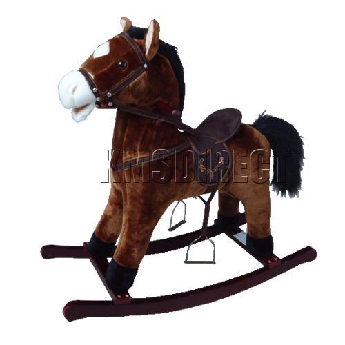 Children Kids 68cm Dark Brown Traditional Rocking Horse With Sound Great Toy New
