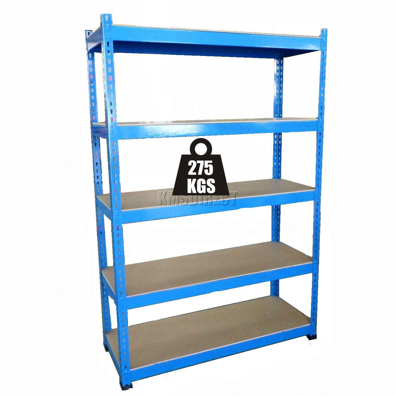 5 tier boltless steel blue heavy duty garage storage. Black Bedroom Furniture Sets. Home Design Ideas