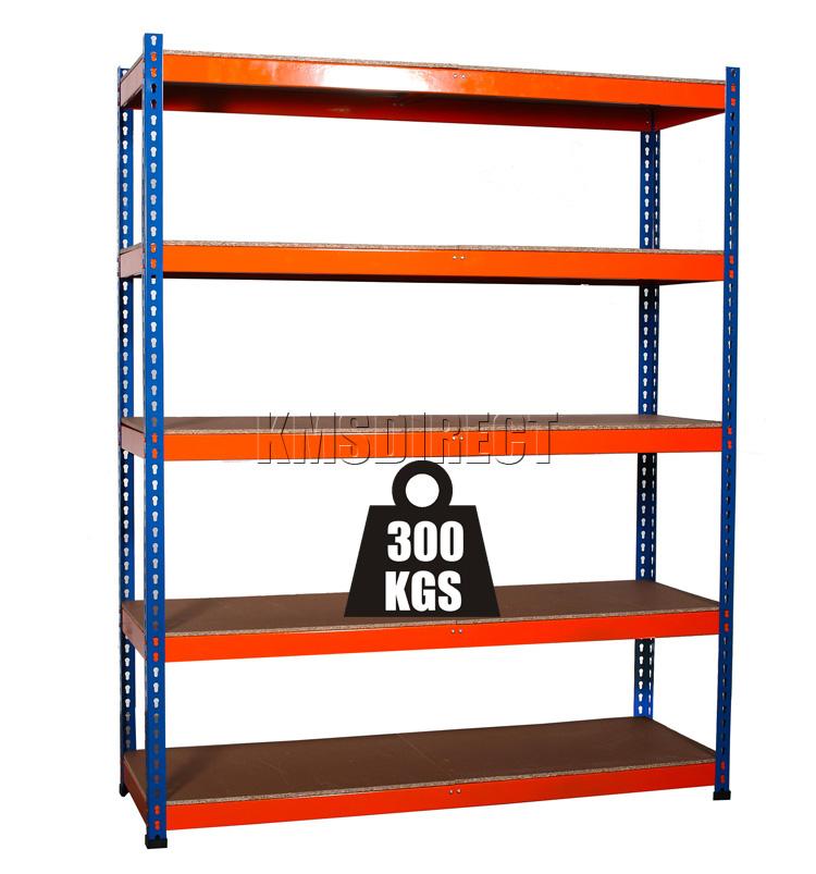 heavy duty 5 tier boltless blue orange garage storage