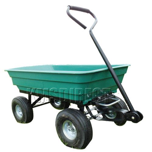 New Heavy Duty Garden Utility 4 Wheel Trolley Cart Tipper