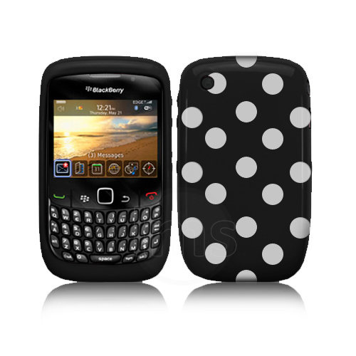 Black Polka Dots Gel Case For Blackberry Curve 3G 9300 / 8520 + Screen Protector Enlarged Preview