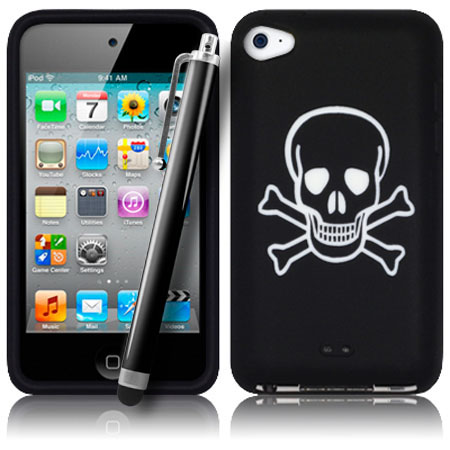 Black-Skull-Crossbones-Silicone-Case-fuer-Apple-iPod-Touch-4-4G-Film-Stylus