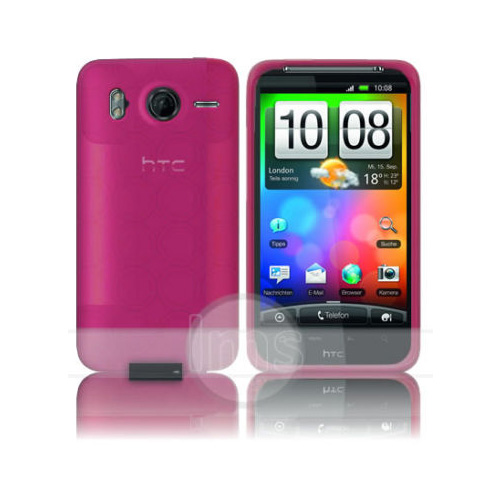 PINK HYDRO GEL CASE COVER FOR HTC DESIRE HD + FILM Enlarged Preview
