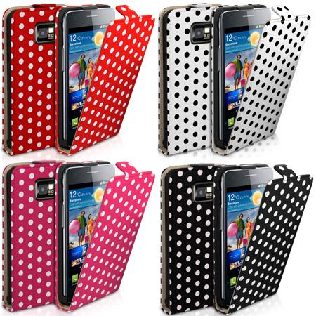 Polka Dot Flip Leather Case For Samsung Galaxy S2 i9100 + Film