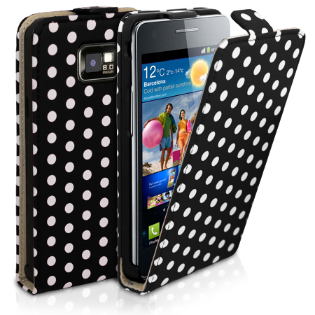 Polka Dot Flip Leather Case For Samsung Galaxy S2 i9100 + Film Enlarged Preview
