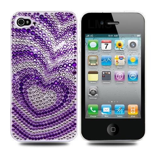 Diamante Zurück Fall Für Apple iPhone 4 4G - Love Hearts Design Enlarged Preview