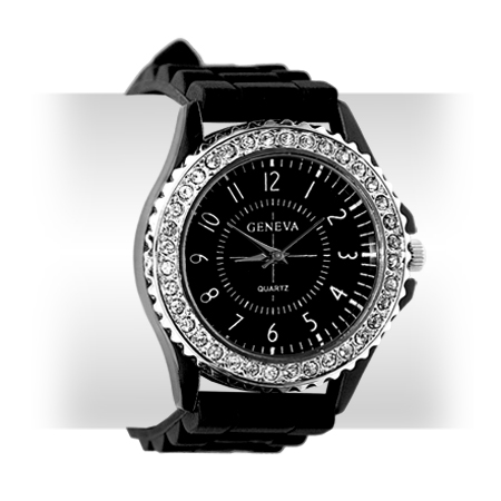 7 COLOR LADY BLING CRYSTAL SILICONE BRACELET SPORT WATCH Enlarged Preview