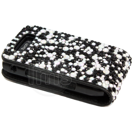 Designer Diamante Flip Leather Case Cover For Blackberry Torch 9800 Enlarged Preview