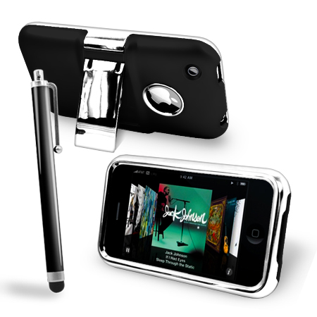HARD STAND CASE COVER FOR APPLE IPHONE 3 3G 3GS SILVER CHROME & STYLUS + FILM Enlarged Preview