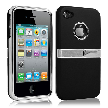HARD STAND CASE COVER FOR APPLE IPHONE 4 4S SILVER CHROME & FILM Enlarged Preview
