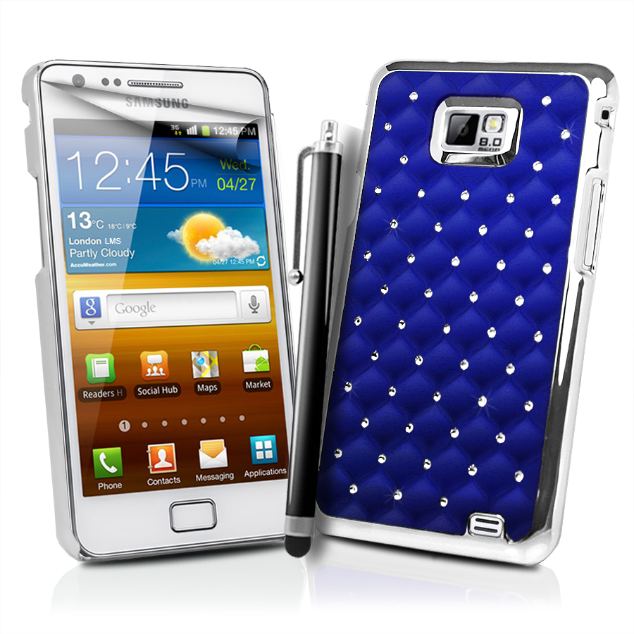 chrome design diamante bling case cover for samsung galaxy