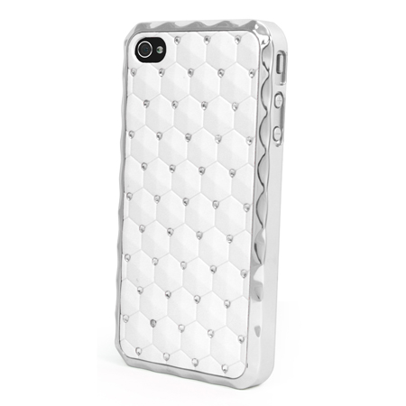 Chrome Design Diamante Bling Case Cover For Apple iPhone 4/4S - White Enlarged Preview