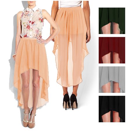 Women-Girl-Chiffon-Sexy-Elegant-Asymmetric-Long-Maxi-Skirt-Elastic-Waist-Band