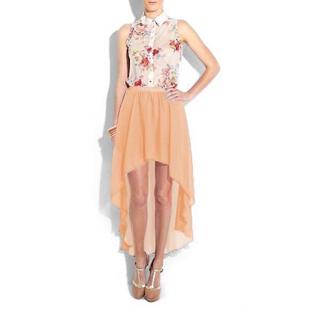 Women Girl Chiffon Sexy Elegant Asymmetric Long Maxi Skirt Elastic Waist Band
