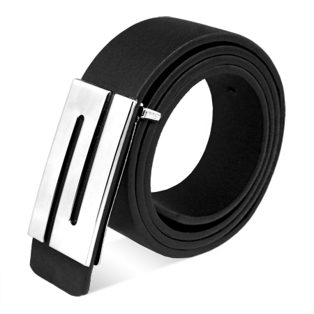Fashion Men's Faux Leather Premium S Shape Silver Metal Buckle Belt New Enlarged Preview