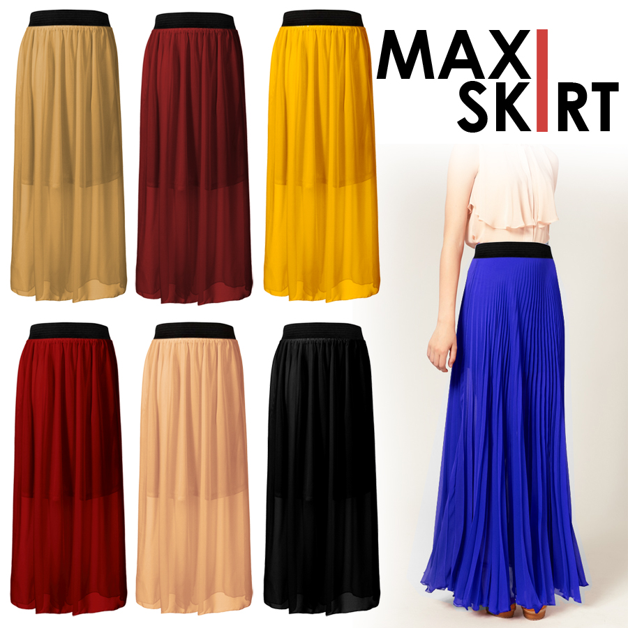 Women Girl Sexy Chiffon Pleated Retro Long Elastic Waist Band Maxi Dress Skirt