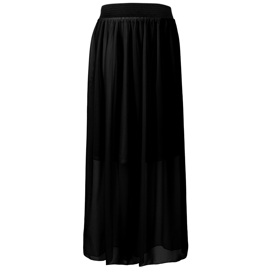 Women Girl Sexy Chiffon Pleated Retro Long Elastic Waist Band Maxi Dress Skirt Enlarged Preview