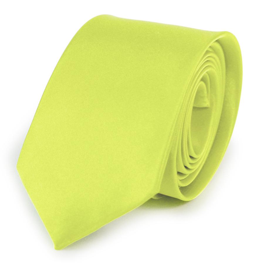 Citrine Skinny Mens Solid Satin Plain Necktie Tie