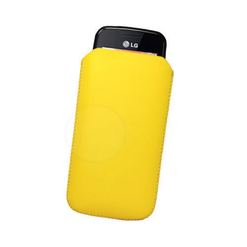 YELLOW PULL TAB LEATHER CASE FOR LG GS290 COOKIE FRESH