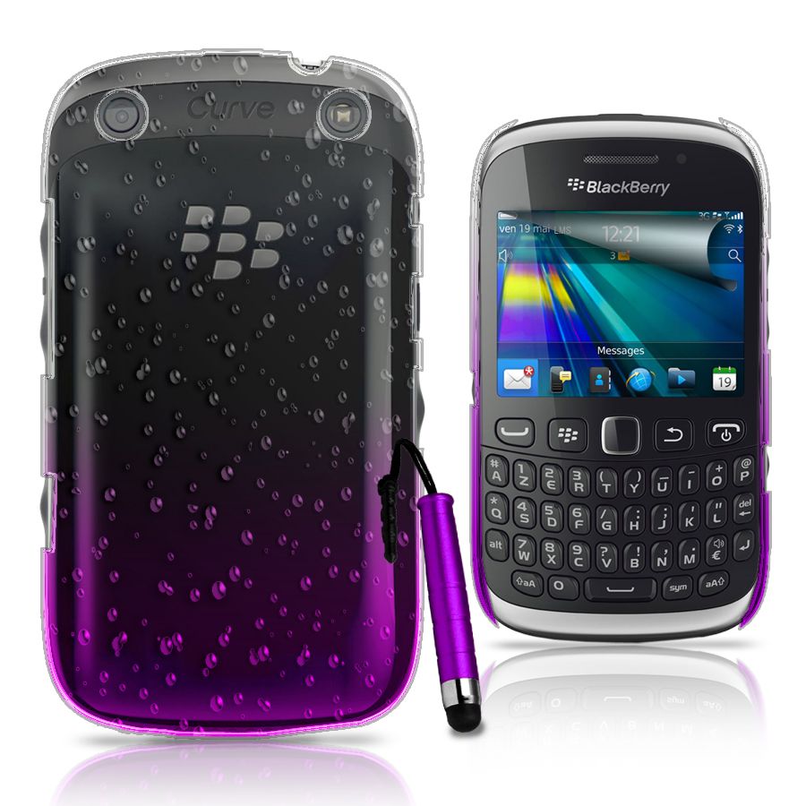 Purple 3D RAIN DROP DESIGN HARD CASE COVER for BlackBerry 9320 Curve 9320  + Fil Enlarged Preview