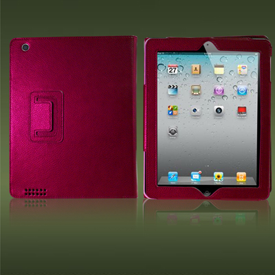 HOT PINK APPLE IPAD 2 2ND GEN LEATHER FLIP CASE COVER Enlarged Preview