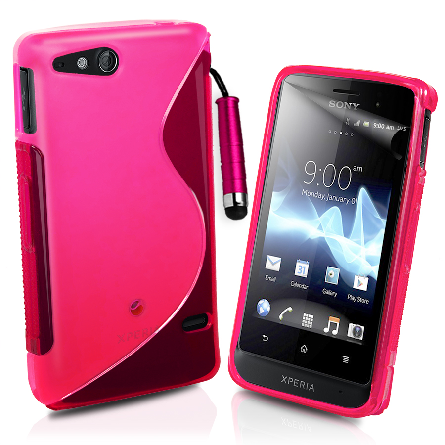 Line Wave Gel Case Cover For Sony ST27i Xperia Go + Film & Stylus ...