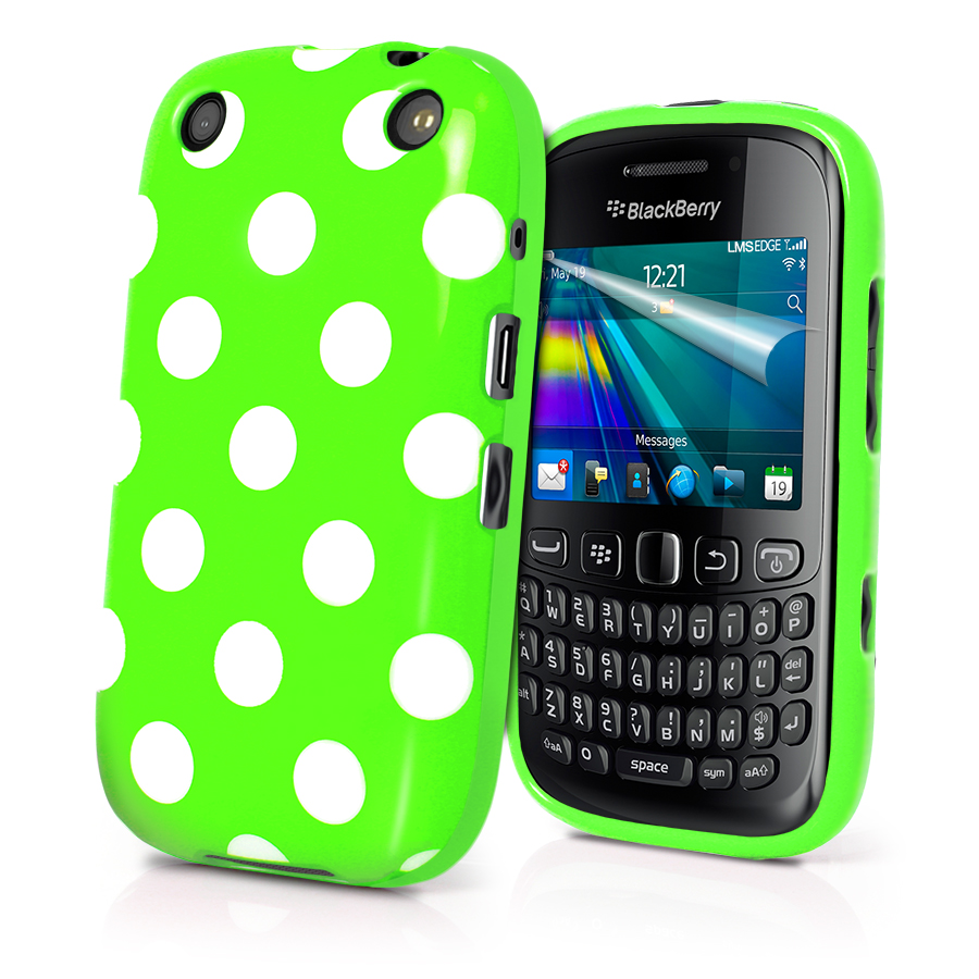 Polka Dots Gel Case Cover for Blackberry 9320 Curve 9320 Screen Protector