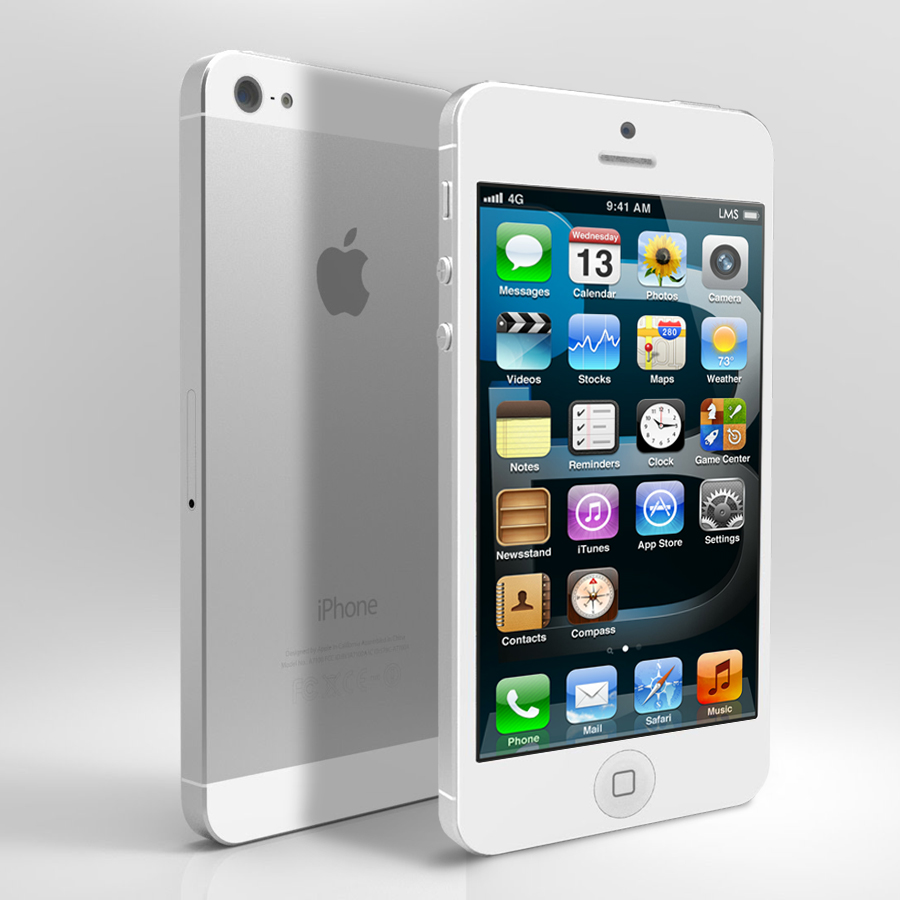 apple iphone 5 16gb white silver at t smartphone. Black Bedroom Furniture Sets. Home Design Ideas