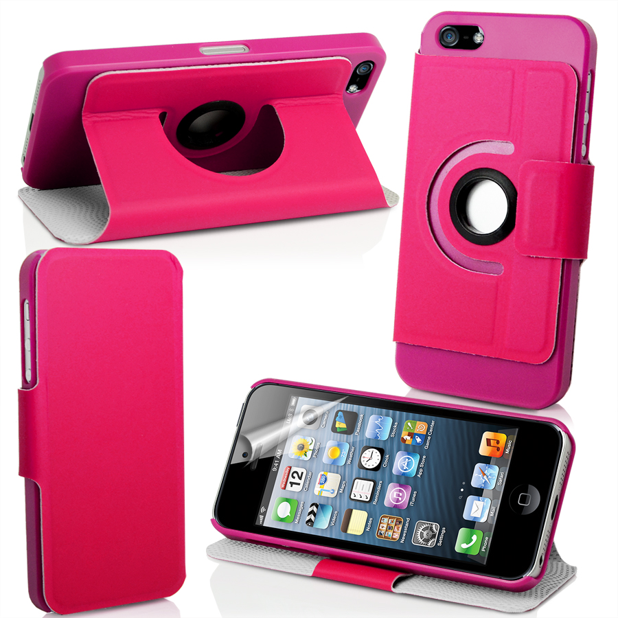 Stand 360 Degree Rotating Leather Case For Apple iPhone5 iPhone 5 5G + Film Enlarged Preview