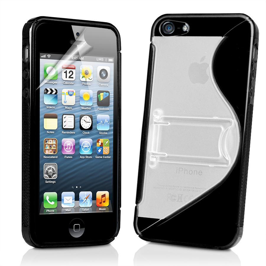 black s line wave gel case cover stand for apple iphone5. Black Bedroom Furniture Sets. Home Design Ideas