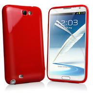 Red Solid Gel Case Cover for Samsung N7100 Galaxy Note II + Screen Protector