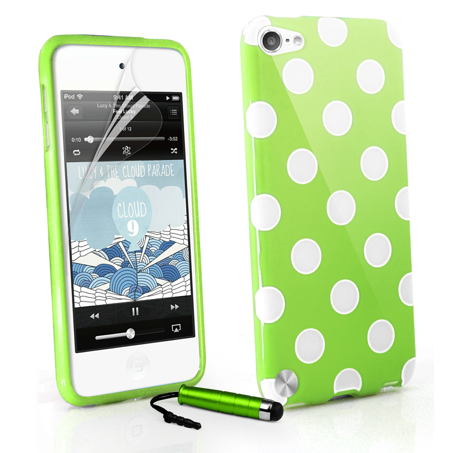 Green Stylish Polka Dots Gel Case Cover for Apple TOUCH5 iPod Touch 5g Film