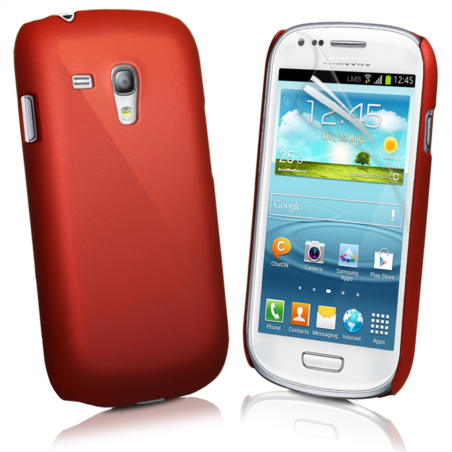 Red Hybrid Hard Case Cover for Samsung Galaxy S3 Mini I8190 + Screen