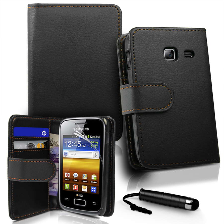 Black Wallet Leather Case Cover for Samsung S6102 Galaxy Y Duos + Film + Stylus Enlarged Preview