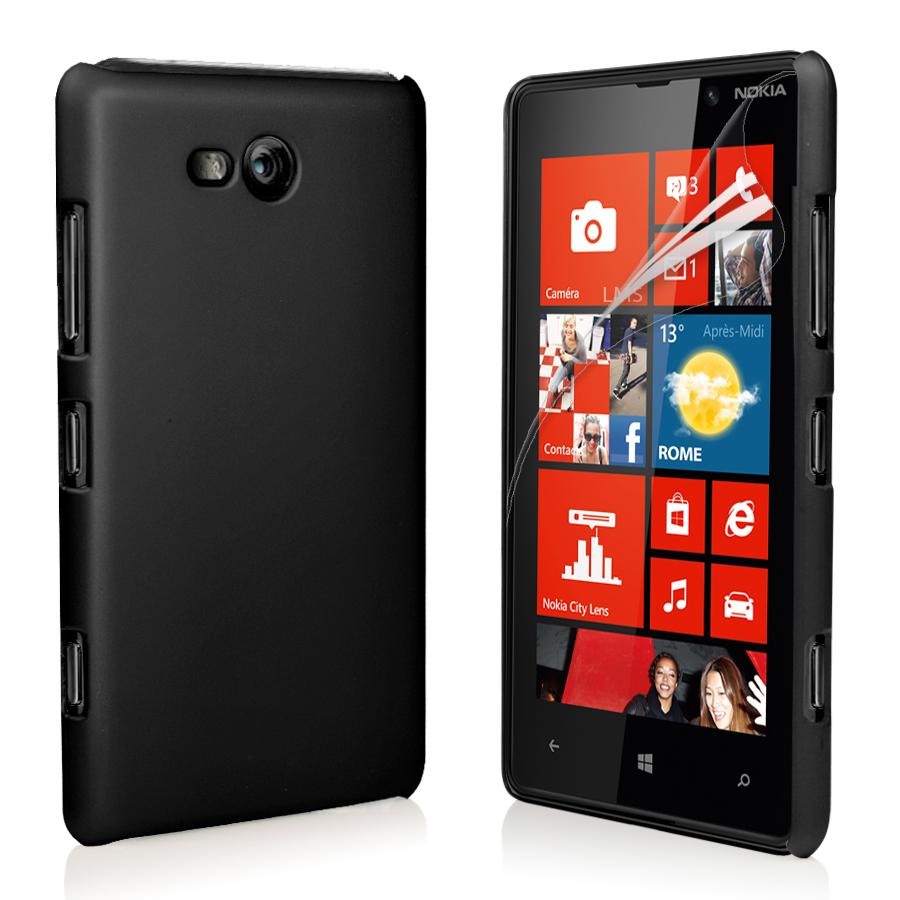 black hybrid hard case cover for nokia lumia 820 screen