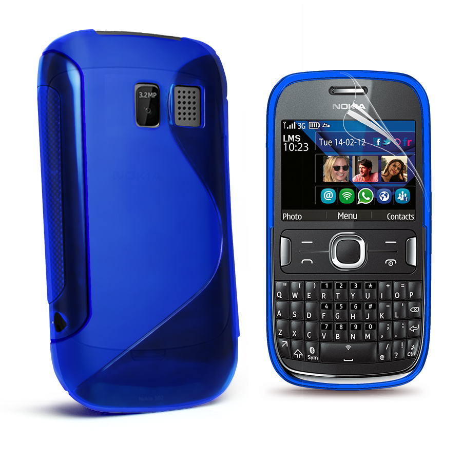 Gel Case Cover for Nokia Asha 302 + Screen Protector Enlarged Preview