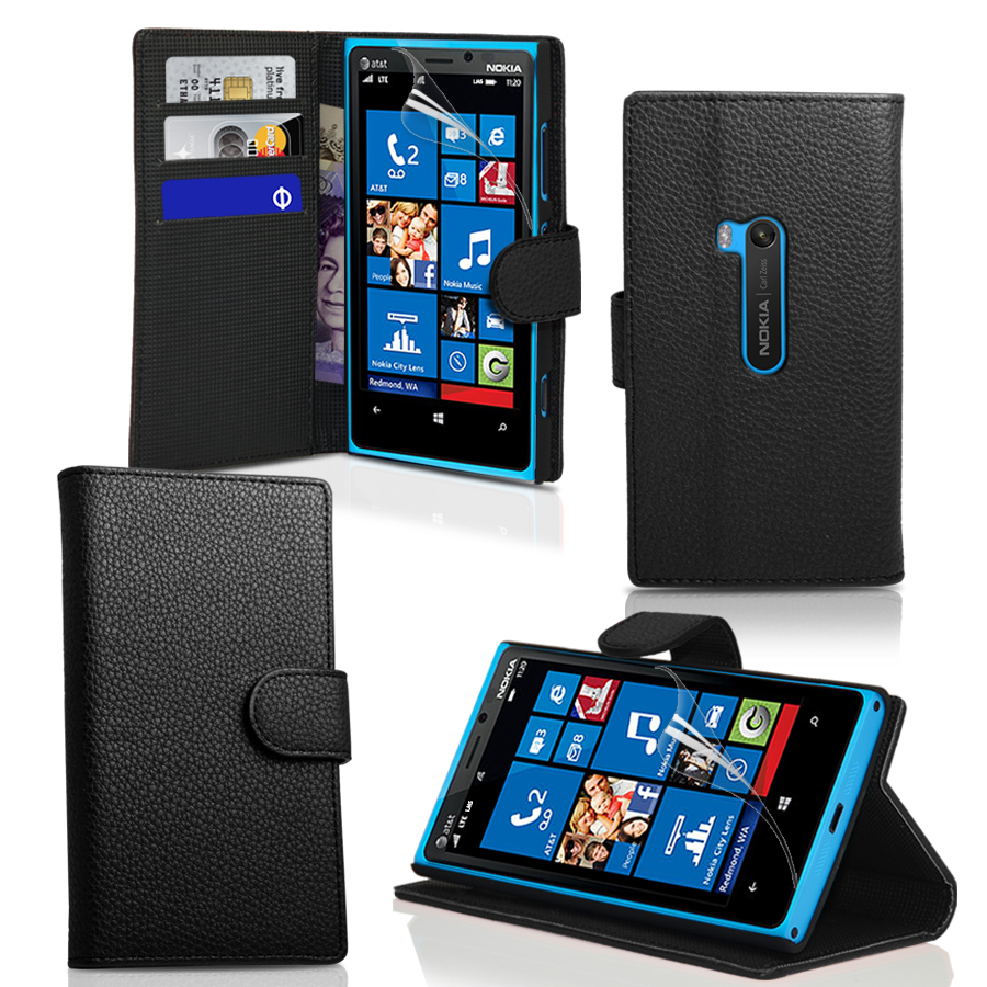 pu wallet leather case cover for nokia lumia 920 screen. Black Bedroom Furniture Sets. Home Design Ideas