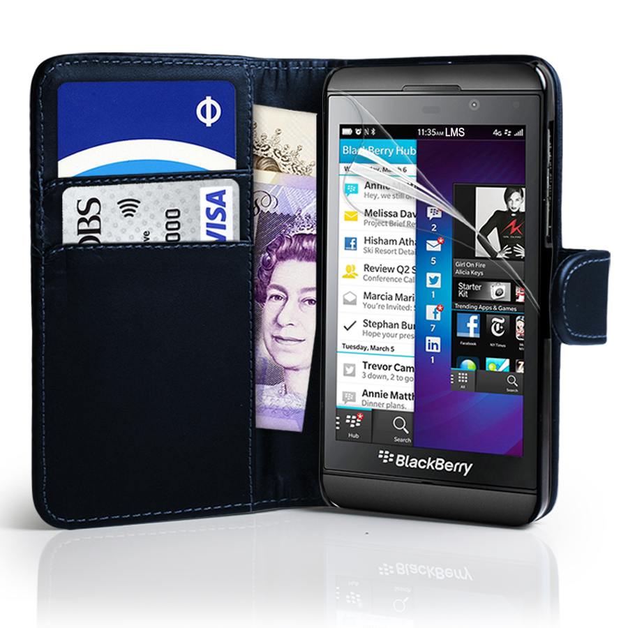 DeepBlue Wallet Leather Case Cover For BlackBerry Z10 BB 10 + Screen Protector