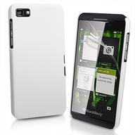 White Hybrid Hard Case Cover for BlackBerry Z10 BB 10 + Screen Protector