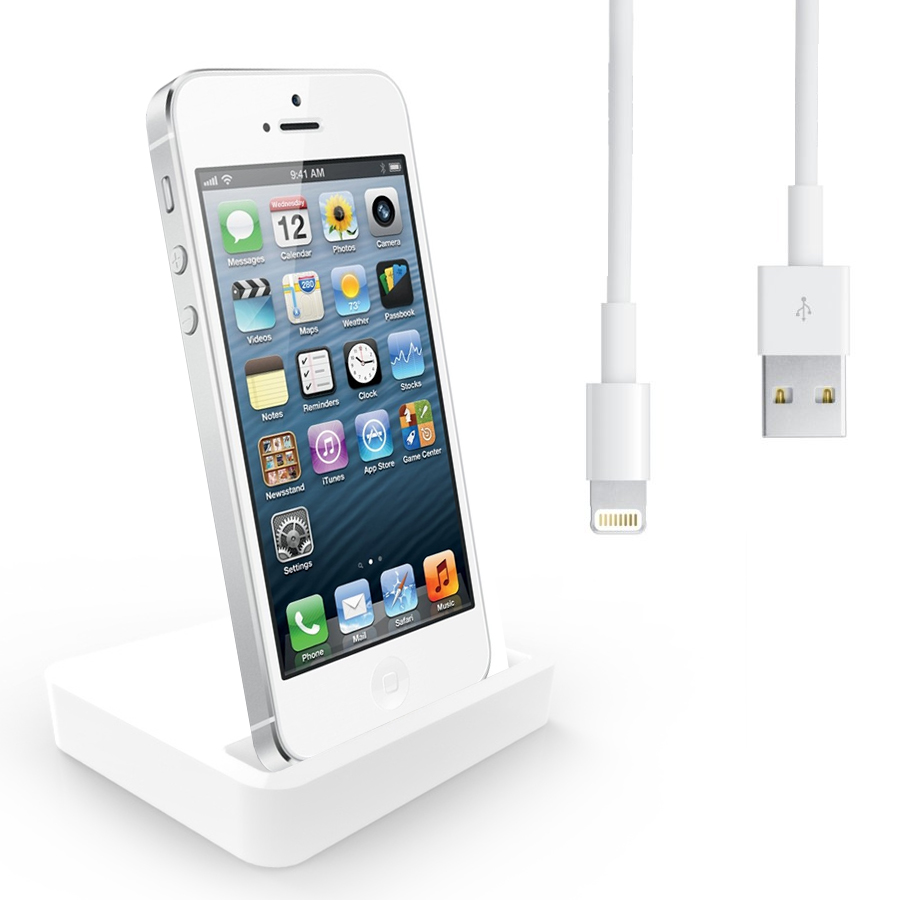 charging dock desktop stand docking station charger cable for apple iphone 5 5g ebay. Black Bedroom Furniture Sets. Home Design Ideas