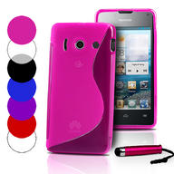 S Line Wave Gel Case Cover For Huawei Ascend Y300+ Film + Stylus