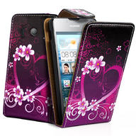 Love Heart Flip Leather Case Cover For Huawei Ascend Y300 + Film